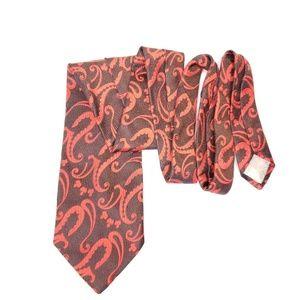 Vintage Christian Dior Brown Orange Necktie